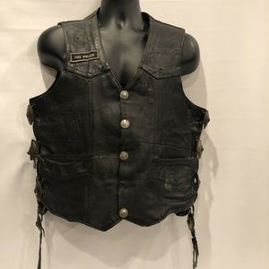 vtg Protech Rider Large Leather Motorcycle Vest